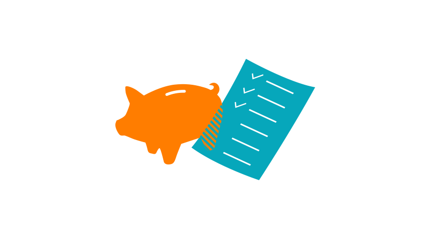 Piggy bank and checklist