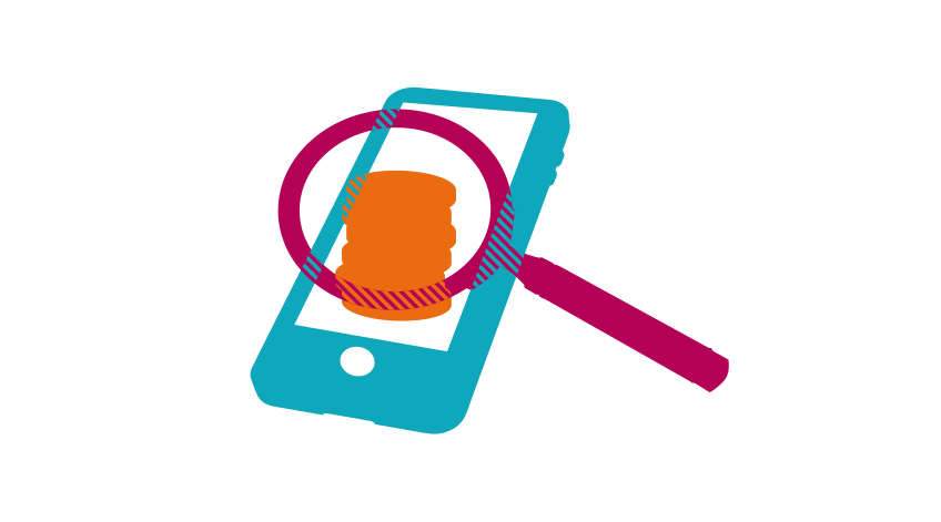 Mobile phone, magnifying glass and coins
